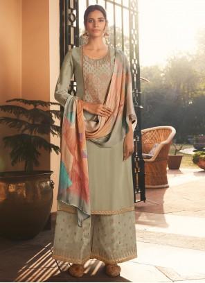 Silk Grey Embroidered Designer Pakistani Suit