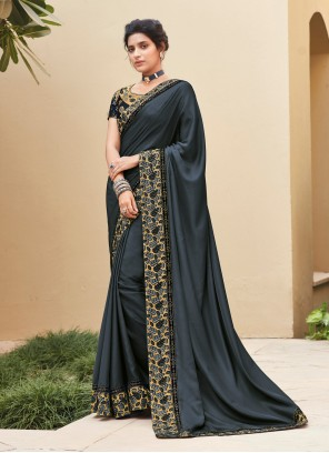 Silk Grey Embroidered Trendy Saree