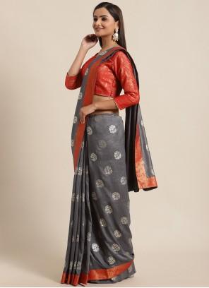 Silk Grey Foil Print Traditional Saree