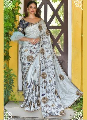 Silk Grey Handwork Classic Designer Saree