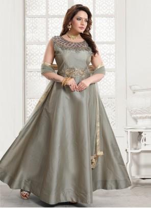 Silk Grey Readymade Gown