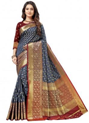 Silk Grey Weaving Designer Traditional Saree