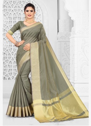 Silk Grey Weaving Silk Saree