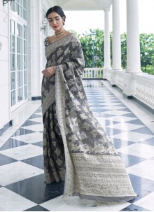 Silk Grey Weaving Trendy Saree