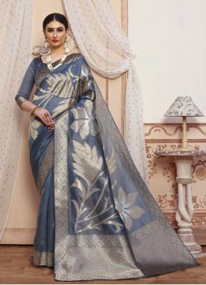 Silk Grey Woven Designer Traditional Saree