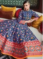 Silk Handwork Anarkali Suit in Blue