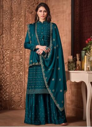 Silk Handwork Teal Designer Palazzo Suit