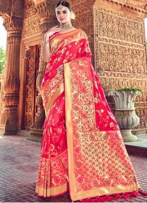 Silk Hot Pink Classic Designer Saree
