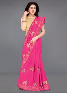Silk Hot Pink Printed Saree