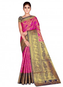 Silk Hot Pink Traditional Saree