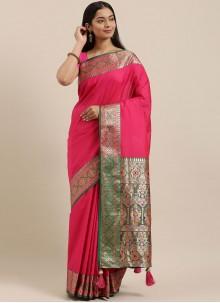 Silk Hot Pink Woven Designer Saree