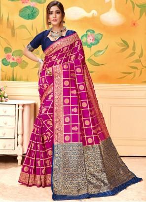 Silk Hot Pink Woven Silk Saree