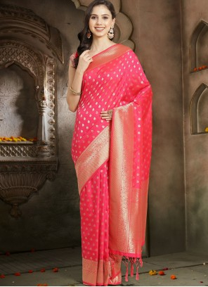 Silk Hot Pink Woven Traditional Designer Saree