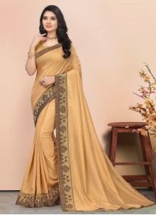 Silk Lace Bollywood Saree in Beige