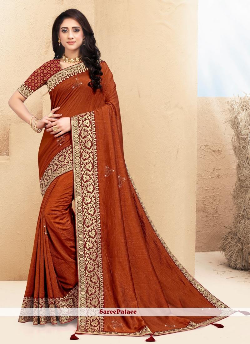 Silk Lace Brown Bollywood Saree