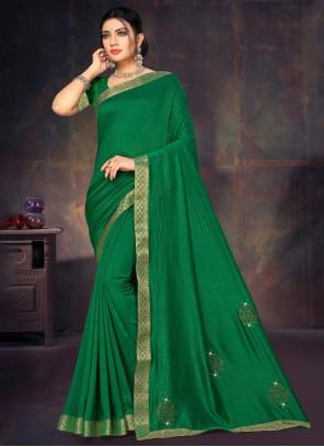 Silk Lace Casual Saree in Green