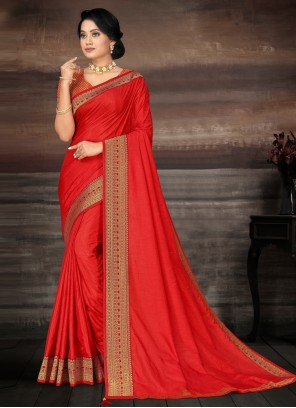 Silk Lace Classic Saree in Red