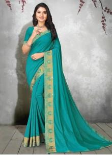 Silk Lace Contemporary Saree in Blue