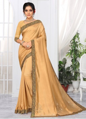 Silk Lace Cream Classic Saree