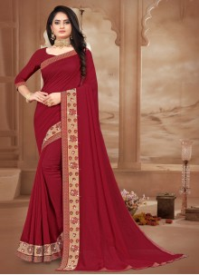 Silk Lace Maroon Bollywood Saree