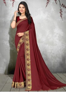 Silk Lace Maroon Casual Saree