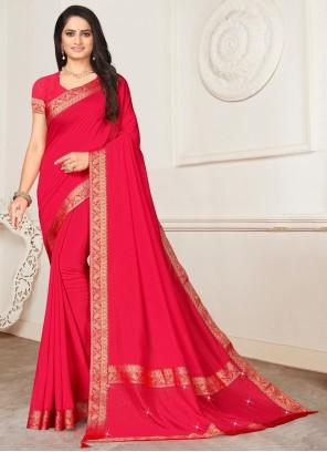 Silk Lace Pink Casual Saree