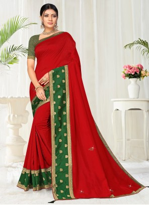 Silk Lace Red Casual Saree