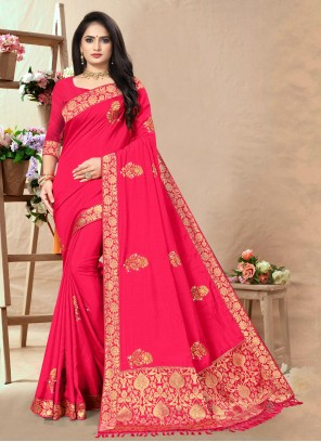 Silk Lace Traditional Saree in Pink