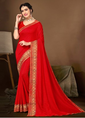 Silk Lace Traditional Saree in Red