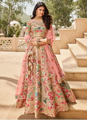 Multi Colour Patch Border Silk Lehenga Choli