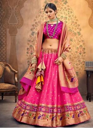 Silk Lehenga Choli in Hot Pink