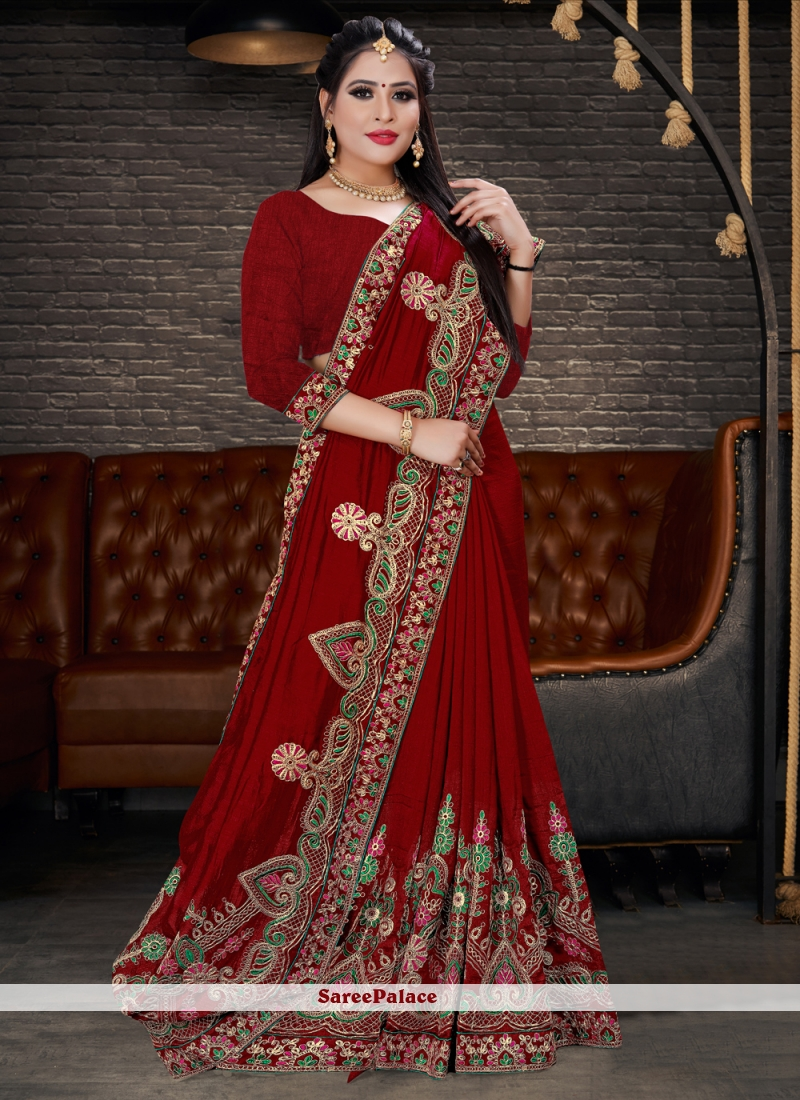 Silk Lehenga Style Saree in Maroon