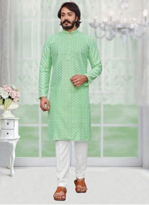Silk Lucknowi work Kurta Pyjama in Green