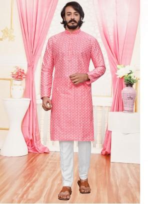 Silk Lucknowi work Pink Kurta Pyjama