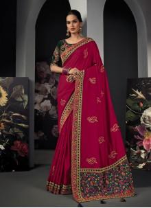 Silk Magenta Patch Border Classic Designer Saree