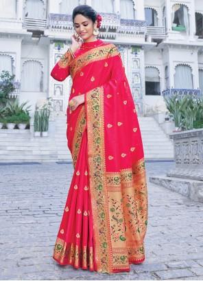 Magenta Weaving Silk Saree