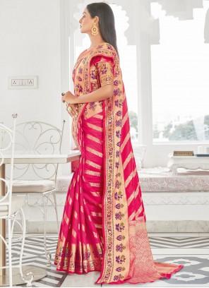 Silk Magenta Woven Traditional Saree