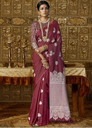 Silk Maroon Abstract Print Work Trendy Saree