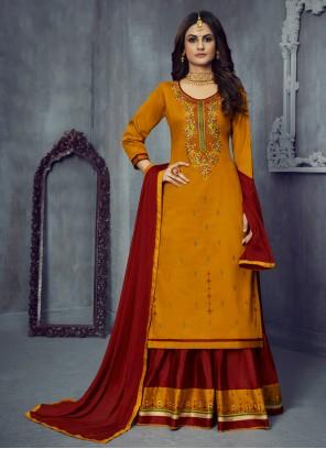 Silk Maroon and Mustard Designer Long Lehenga Choli