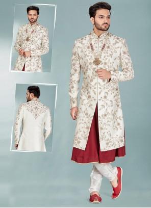 Silk Maroon and Off White Indo Western Sherwani