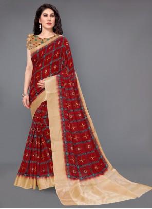 Silk Maroon Designer Saree