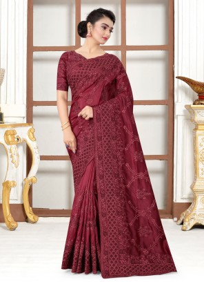 Silk Maroon Embroidered Traditional Saree