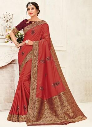 Silk Maroon Embroidered Trendy Saree