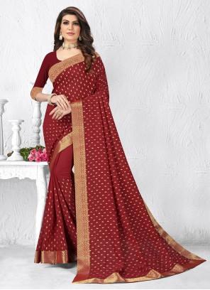 Silk Maroon Lace Classic Saree