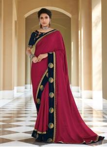 Silk Maroon Lace Contemporary Saree