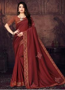 Silk Maroon Lace Traditional Saree