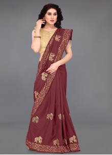 Silk Maroon Printed Saree