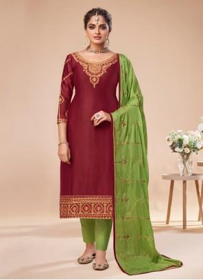 Silk Maroon Resham Pant Style Suit
