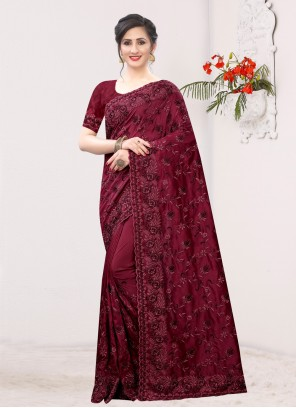 Silk Maroon Resham Traditional Saree