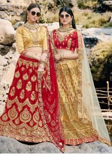 Silk Maroon Trendy Long Choli Lehenga